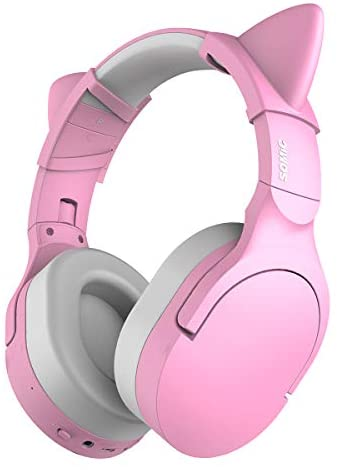 SOMIC Bluetooth Wireless Headphones Noise Canceling Gaming Headsets with HiFi Stereo Sound, Soft Protein Earpads, 38H Playtime Detachable Cat Ear Headset for Travel/Work MS300 Pink