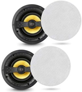 """Yijiayin in Ceiling Speakers Pair Two-Way Flush Speakers Universal Hi-fi Home Audio System [Magnetic Grille], White, 8""""inch, Two Speakers"""