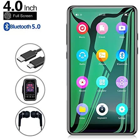 Mp3 Player with Bluetooth 5.0,Tengsen 4.0″ Full Touchscreen HD Video Mp4 Mp3 Music Player with Speaker, 16GB Portable HiFi Sound with FM Radio, Voice Recorder, E-Book, Sport Pedometer,Support TF Card