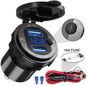 CHAFON Quick Charge 3.0 Dual USB Charger Socket,12V 36W Aluminum Waterproof Power Outlet with Switch LED Digital Voltmeter & Wire Fuse DIY Kit for Car,Marine,Boat,Motorcycle,Truck,Golf Cart & More