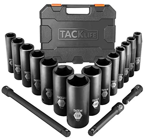 TACKLIFE Impact Socket Set 1/2-inch Drive SAE, 17pcs Drive Deep Impact Socket Set, 6 Point, 3/8-1-1/4 inch, 14pcs Inch Sockets with 3pcs 1/2-Inch Drive Impact Extension Bar Set – HIS2A