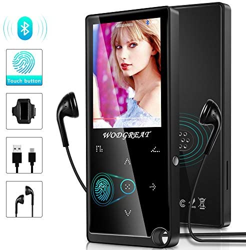 """MP3 Music Players with Bluetooth 4.2, 16GB Portable HiFi Lossless Sound MP4 Player with Touch Button&2.4"""" HD Screen, Video Player Support FM Radio/Picture/Recorder/pedometer/128GB TF Card Expandable"""