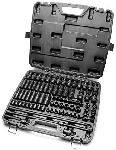 3/8 Inch Drive 84 Piece Impact Socket MASTER SET, our Most Complete Set Ever with SAE & Metric from 1/4 Inch – 3/4 Inch, 6mm – 19mm, Standard/Deep/Universal and Star and Inverted Star Sockets & More