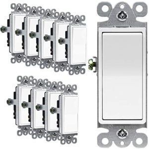 ENERLITES Illuminated 3-Way Decorator Paddle Light Switch, Three Way, Push-in Side Wiring, Copper Wire Only, Grounding Screw, Residential Grade, 15A 120-277V, UL-Listed, 93160-W-10PCS, White 10 Pack