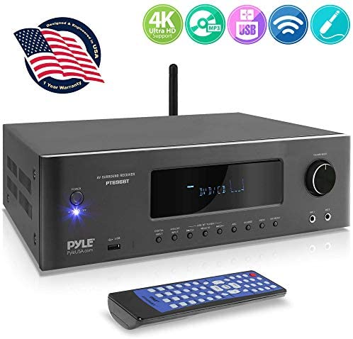 1000W Bluetooth Home Theater Receiver – 5.2-Ch Surround Sound Stereo Amplifier System with 4K Ultra HD, 3D Video & Blu-Ray Video Pass-Through Supports, MP3/USB/AM/FM Radio – Pyle PT696BT