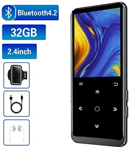 32GB MP3 Player, Mibao MP3 Player with Bluetooth 4.2, Music Player with FM Radio, Recording, 2.4″ Screen, HiFi Lossless Sound, Support up to 64GB Expansion(Earphone, Sport Armband Included)