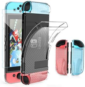 Nintendo Switch Dockable Case, HEYSTOP Soft TPU Protective Case Cover for Nintendo Switch with Switch Tempered Glass Screen Protector and 6 Thumb Grip Caps