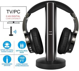 Wireless TV Headphones with 2.4G Digital RF Transmitter, Hi-Fi Over-Ear Cordless Headset with RCA / 3.5MM / Optical Port, for Watching Home TV Game Computer Television