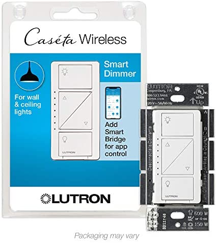 Lutron Caseta Smart Home Dimmer Switch, Works with Alexa, Apple HomeKit, and the Google Assistant | for LED Light Bulbs, Incandescent Bulbs and Halogen Bulbs | PD-6WCL-WH | White