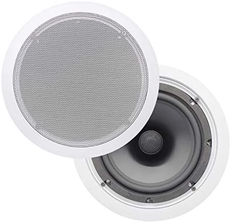 KEiiD in-Ceiling Speaker 8 Inch Hi-Fi Premium Surround Sound Coaxial Speaker with 1.5 inch Natural Silk Dome Tweeter,2-Way Frequency Division Ajustable Bass and Treble, Pair 2-Packs