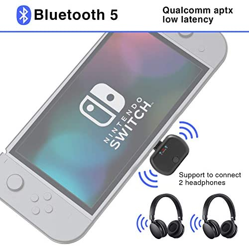 Audio Transmitter Bluetooth Adapter for Switch PC, USB Type-C Plug & Play Audio Adapter, Support for Two Devices, in-Game Voice Chat Support