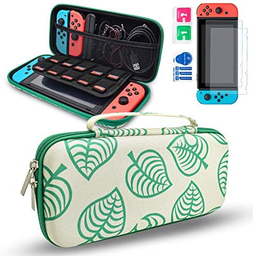 DLseego Carrying Case Compatible with Nintendo Switch, Travel Carry Cover Hard Shell Storage Accessories Kit for New Leaf Crossing Design with 2 Pack Screen Protectors Holds up to 10 Game Cards Slots