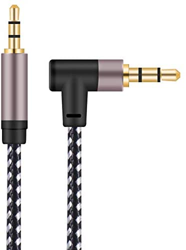 3.5mm Audio Cable 10FT, 90 Degree Right Angle Male to Male Auxiliary Stereo HiFi Cable Gold Plated Nylon Braid Audio Cord with Silver-Plating Copper Core Compatible with Car, iPhones, Tablets