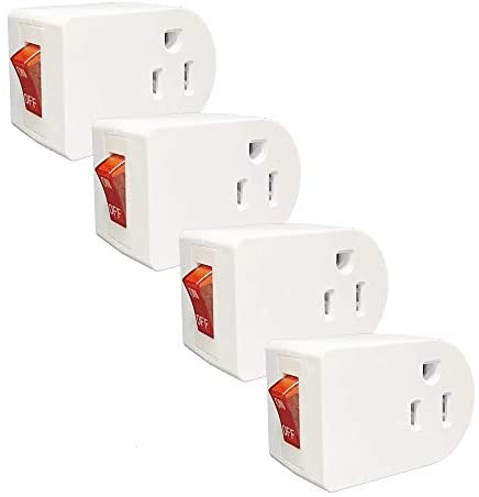 Oviitech 4 Pack Grounded Outlet Wall Tap Adapter with On/Off Power Switch,Single Outlet with Switch in White