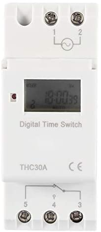 Programmable Timer Switch Time Relay Guide Rail Type Digital LCD DIN 30A RAIL AC-DC 12/24/110/220V(220V)