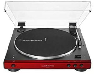 Audio-Technica AT-LP60XBT-RD Fully Automatic Belt-Drive Stereo Turntable, Red/Black, Bluetooth, Hi-Fi, 2 Speed