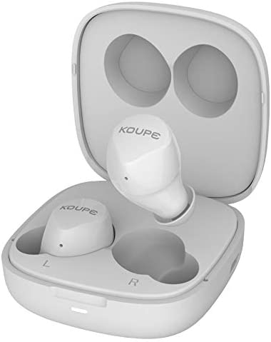 Wireless Earbuds, Koupe Ice Drop True Wireless Bluetooth 5.0 HiFi Sound in Ear Stereo Earphone Easy Pairing Smart Touch IPX5 Sweatproof Workout Headphone with Portable Charging Case White