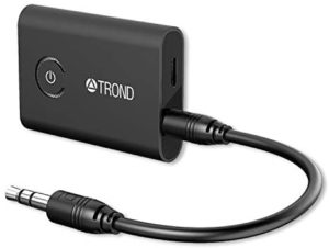 TROND Bluetooth V5.0 Transmitter Receiver for TV PC iPod, 2-in-1 Wireless 3.5mm Adapter (AptX Low Latency, Pair with 2 Bluetooth Headphones Simultaneously)