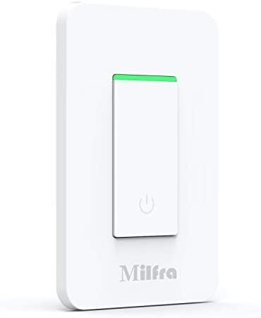 Milfra Smart Switch-Smart Wifi Light Switch, Single Pole, Needs Neutral Wire, 2.4Ghz WiFi Light Switch Compatible with Alexa and Google Assistant, UL Certified