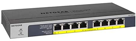 NETGEAR 8-Port Gigabit Ethernet Unmanaged PoE Switch (GS108PP) – with 8 x PoE+ @ 123W Upgradeable, Desktop/Rackmount, and ProSAFE Limited Lifetime Protection