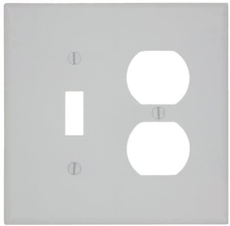 Leviton 80505-W 1-Toggle 1-Duplex Midway Size Wall Plate, 2 Gang, 4.875 In L X 4.94 In W 0.255 In T, 1 pack, White