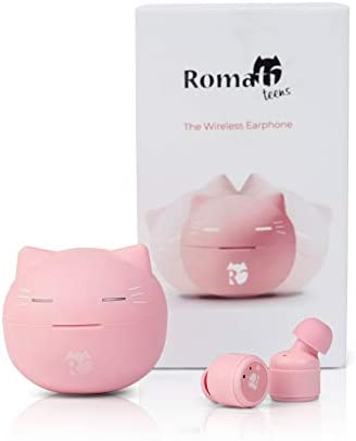 Romatiteens True Wireless Earbuds Bluetooth 5.0 TWS – In-Ear Stereo Sound Ear Buds with 24 Hours Play-Time, Touch Control, Hi-Fi Stereo Sound (Pink)