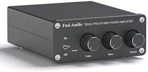 2 Channel Stereo Audio Amplifier Receiver Mini Hi-Fi Class D Integrated Amp 2.0CH for Home Speakers 100W x 2 with Bass and Treble Control TPA3116(with Power Supply) – Fosi Audio TB10A
