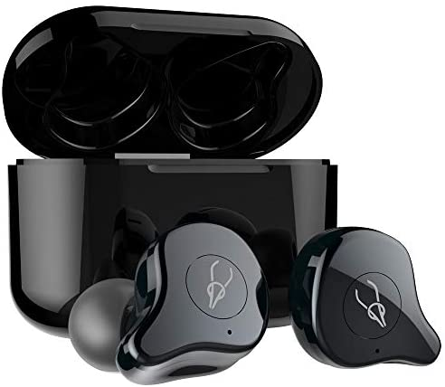 Sabbat True Wireless Earbuds, E12 Ultra Bluetooth 5.0 Headphones with Charging Case, Noise Cancelling Built in Mic TWS HiFi Bass Stereo in Ear 30 Hours Playtime Earphones for Android iPhone (Gunmetal)