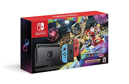 Nintendo Switch w/ Neon Blue & Neon Red Joy-Con + Mario Kart 8 Deluxe (Full Game Download) – Switch