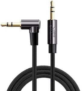 Audio Cable,CableCreation 10FT 3.5mm Right Angle Male to Male Auxiliary Stereo HiFi Cable with Silver-Plating Copper Core Compatible with Car,iPhones,Tablets,24K Gold Plated, Black