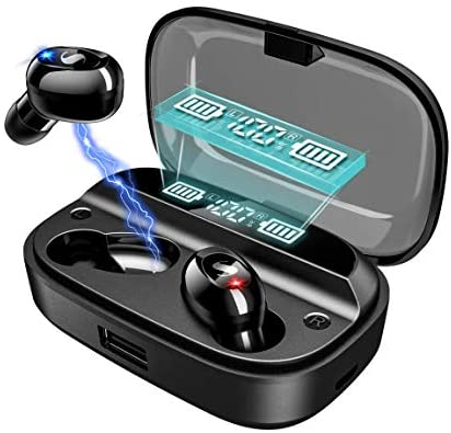 Wireless Earbuds Bluetooth 5.0 with 4000mAh Charging Case LED Battery Display 120H Playtime IPX7 Waterproof TWS Stereo Headphones in Ear Built in Mic Headset Deep Bass Hi-Fi Sound for Sport Black
