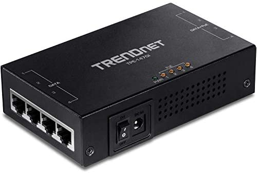 TRENDnet 65W 4-Port Gigabit PoE+ Injector, TPE-147GI, 4 x Gigabit Ports(Data in), 4 x gigabit PoE Ports(Data + PoE Out), Multi-Port PoE+ Injector up to 100m(328 ft.), Add PoE+ Power to Non-PoE Switch