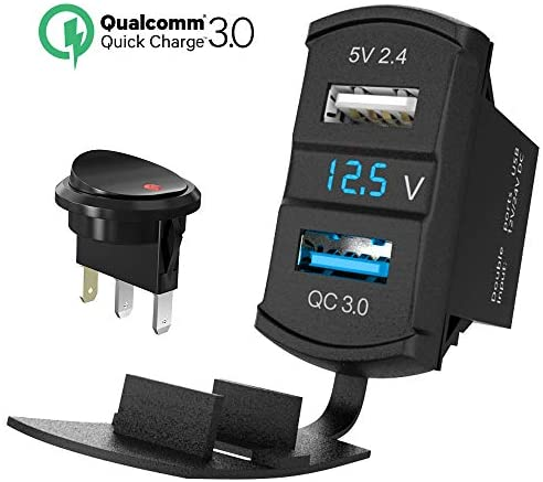 QC 3.0 Rocker USB Charger Socket 12V/24V Dual USB Car Power Outlet Blue LED Voltmeter Waterproof Marine Cigarette Lighter Adapter Quick Charge 3.0 Rocker Switch Panel on Boat UTV ATV RV