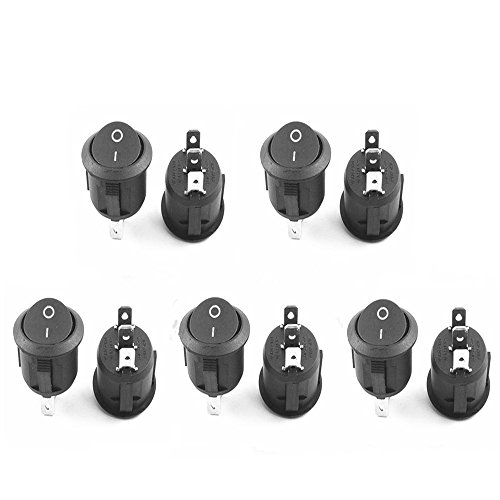 GFORTUN 10Pcs Round Rocker Switch AC 6A/250V 10A/125V 3 Pin SPDT ON/ON Type for Auto Car Boat Industry