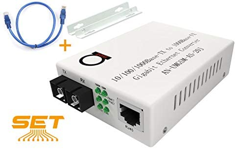 Single Mode Gigabit Fiber Media Converter – Built-In Fiber Module 20 km (12.42 miles) SC – to UTP Cat5e Cat6 10/100/1000 RJ-45 – Auto Sensing Gigabit or Fast Ethernet Speed – Jumbo Frame – LLF Support