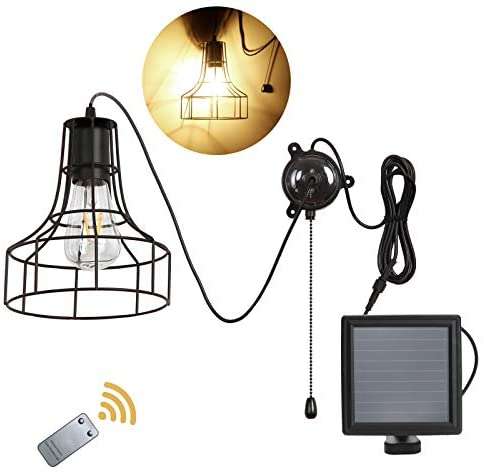 Solar Ceiling Light,Solar Powered Shed Light with ON Off Switch, Hanging Light Solar Pendant Light Solar Pendant Light Socket Low Voltage Vintage Edison Bulb with Remote Control