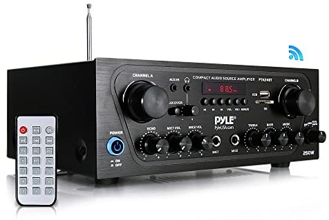 Pyle Upgraded Karaoke Bluetooth Channel Home Audio Sound Power Amplifier w/AUX-in, USB, 2 Microphone Input w/Echo, Talkover for PA, Black (PTA24BT)