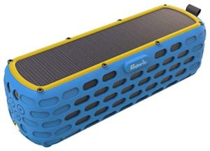 CYBORIS Portable Bluetooth Speaker Solar Powered Amplifier 30+ Hours Playtime HiFi Bass Stereo Sound Rugged Wireless Outdoor Speakers for Travel, Riding, Camping (The 2nd Generation ES-T63) (Blue)