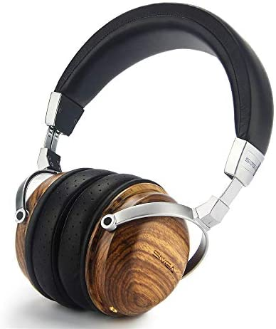 SIVGA SV003 Wooden Over-Ear Noise Cancelling Hi-Fi Stereo Studio Monitoring Close Back Headphones with Soft Earmuffs & Headset, Microphone, Leather Case (Zebrawood)