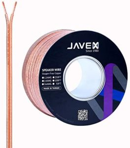 JAVEX Speaker Wire 14-Gauge AWG [Oxygen-Free Copper 99.9%] Cable for Hi-Fi Systems, Amplifiers, AV receivers and Car Audio Systems, 50FT