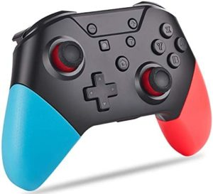KINVOCA Wireless Switch Pro Controller, BT5.0, 500mAH Remote Gamepad for Nintendo Switch/Switch Lite/PC, Supports NFC, Motion Control, Adjustable Turbo & Dual Shock – Red and Blue