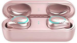TWS-I8 Bluetooth 5.0 Wireless Earbuds Waterproof Sport Built-in Mic Noise Cancelling HiFi Binaural Call Headphones with Charging Case (Rose Gold)