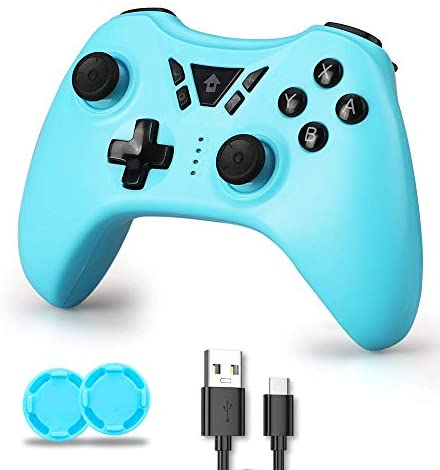Switch Controller, Switch Pro Controller, Wireless Switch Controller Compatible with Nintendo Switch/Lite, Wireless Controller with Rechargable Battery, Support Turbo Dual Shock Gyro Axis (Sky Blue)