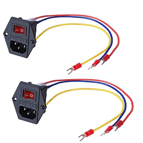 BZ 3D New Version 15A 250V Rocker Switch Power Socket Inlet Module Plug 5A Fuse Switch with 3Pcs 16-14 AWG Wiring 3 Pin (2PCS)