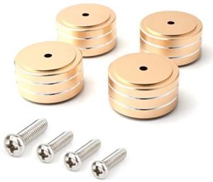 4pcs 40x20mm Aluminum HiFi AMP Speaker Isolation Stand Turntable DAC Feet Pad (Gold Colour)