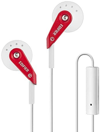 Edifier P185 Computer Headset Hi-Fi Classic Earbud Style Earphones with Microphone – Red