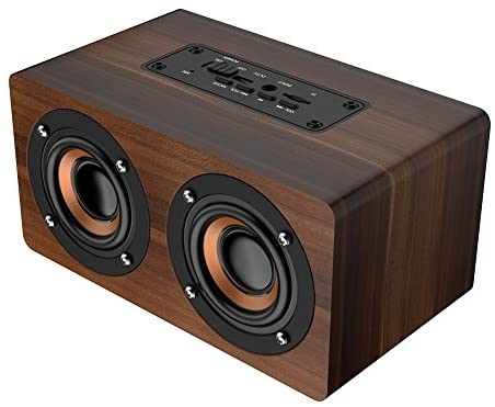 Wooden Bluetooth Speaker, Wireless Retro Heavy Bass Music Player Support FM Radio Alarm Clock Function for Home Office Idea Gift for Friends(Brown Grain)