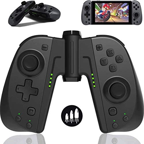 TUTUO Wireless Switch Joy-Con Controller for Nintendo Switch/Switch Lite, Switch Joypad Controller Replacement for Joycon with Programmable Macros, Turbo, Motion Control & Dual Shock (Black)
