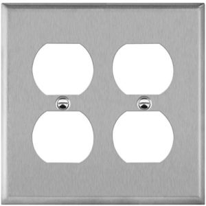 ENERLITES Double Duplex Receptacle Outlet Metal Wall Plate, Stainless Steel Socket Outlet Switch Cover, Corrosive Resistant, Size 2-Gang 4.50″ x 4.57″, 7722, 430 Stainless Steel, UL Listed, Silver