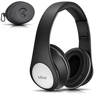 Over Ear Headphones, Mkay Bluetooth Wireless Headset V4.2 with Deep Bass Microphone Hi-Fi Stereo, Foldable & Lightweight, 25H Playtime for Travel Work TV Computer iPhone-Black